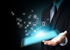 Touch pad with icons Stock Photography