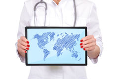 Touch pad with map Royalty Free Stock Photography