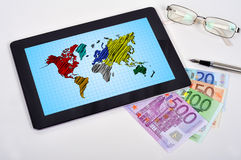 Touch pad with map Stock Image
