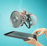 Touch pad with metal gears Stock Photography