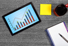 Touch pad with stock chart Stock Images