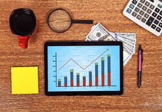 Touch pad with stock chart Stock Photography