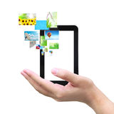 Touch pad and streaming images Royalty Free Stock Photo