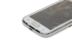 Touch phone with a broken display on white background Royalty Free Stock Images