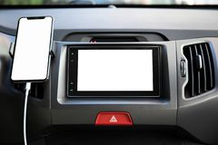 Touch phone and multimedia system with screen in the car stock photos