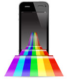 Touch phone with rainbow Stock Photos