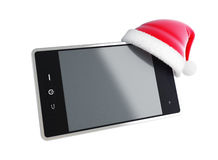 Touch phone santa hat. On a white background Stock Image