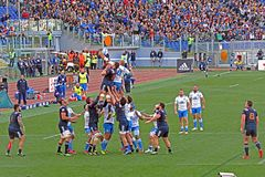 Dispute touche. A touch in the rbs six nations rugby match italy vs france played at rome. 11/3/2017 Royalty Free Stock Images