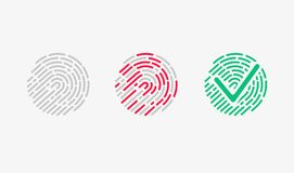 Touch Recognition. Accessed Icon Set. Vector Illustration Royalty Free Stock Photos