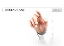 Touch restaurant search bar. Businessman is touching the restaurant search bar with his hand isolated on white background royalty free stock photo