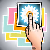 Touch Screen. Illustration of a hand with finger poiting to a photo of a flower Stock Photos