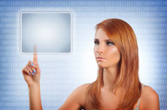 Touch screen. Young woman pushing button on touch screen Stock Image
