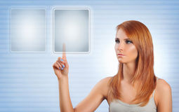 Touch screen. Young woman pushing button on touch screen Royalty Free Stock Image