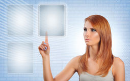 Touch screen. Young woman pushing button on touch screen Stock Photo