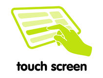 Touch Screen. Illustration showing touchable screen and hoovered region Stock Image