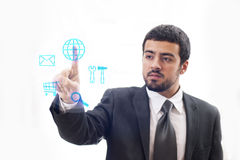 Touch Screen business man. Touch Screen. Business man operating multitask.n Royalty Free Stock Image