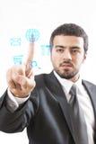 Touch Screen business man. Touch Screen. Business man operating multitask.n Stock Photos