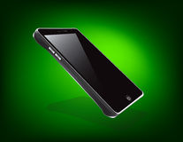 Touch Screen Cell Phone. A sleek and glossy touch screen cellular phone  on a vibrant, glowing, green back drop Royalty Free Stock Photos