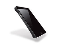 Touch Screen Cell Phone. A glossy, black touch screen cellular phone isolated on a clean white back drop Royalty Free Stock Photography