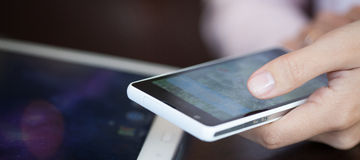Touch screen, close-up,  small depth of field Stock Photo