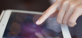 Touch screen, close-up,  small depth of field Royalty Free Stock Images