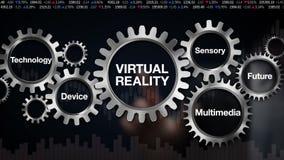 Touch screen collegato 'REALTÀ VIRTUALE' degli ingranaggi e dell'uomo d'affari illustrazione di stock