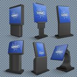 Touch screen computer terminals, lcd standing monitor of information kiosks vector set stock illustration