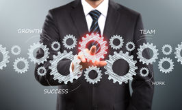 Touch Screen Concept. Businessman Activate Gears, touch Screen Concept Royalty Free Stock Photos