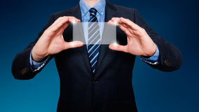 Touch screen concept - businessman - Stock Image Royalty Free Stock Photos