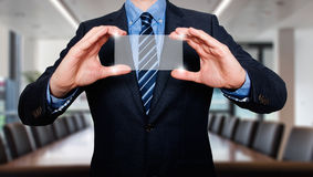 Touch screen concept - businessman - Stock Image Stock Image