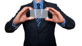 Touch screen concept - businessman - Stock Image Royalty Free Stock Images
