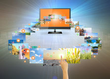 Touch screen. Concept of touch screen tv on modern dark background Stock Images