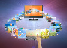 Touch screen. Concept of touch screen tv on modern dark background Royalty Free Stock Photography