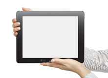 Touch screen device. Female hands are holding the touch screen device isolated on white background Stock Image
