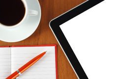 Touch screen device, notepad, pen, coffe cup Royalty Free Stock Images