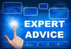 Touch screen digital interface of expert advice concept. Illustration of human finger pressing high tech glowing modern expert advice interface touch screen Royalty Free Stock Images