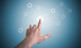 Touch screen display. Man hand and touch screen display with elastic menu Stock Photos