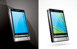 Touch screen electronic device. Two electronic touch screen devices, one with white background and one with grayish background Royalty Free Stock Photography
