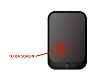Touch screen enhanced mobile phone. Vector illustration of touch screen device as smart mobile phone, with finger print, useful for new technologies using this Royalty Free Stock Image