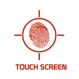 Touch screen enhanced symbol. Vector illustration of touch screen device symbol, with finger print, useful for new technologies using this feature as mobile Royalty Free Stock Image