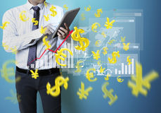 Touch Screen financial symbols Stock Photo
