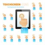Touch Screen gestikuliert Ikonen Stockbild