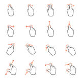 Touch screen gesture hand signs Royalty Free Stock Photography
