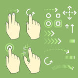 Touch screen gesture hand signs Stock Photo