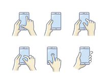 Smartphone gesture icon. Touch screen gesture icon for smartphone. Vector icon for a mobile app user interface or manual. Smartphone screen with gesture. Hand Stock Photo