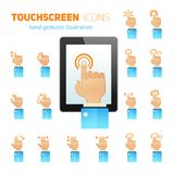 Touch screen gestures icons. Mobile tablet touch screen hand gestures user friendly symbols flat icons collection abstract isolated vector illustration Stock Image