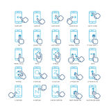 Touch screen hand gestures for smartphones outline icons set. Gesturing screen icon, gesture point smartphone, press gesture illustration Stock Images