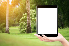 Touch screen in hand, tablet on golf club - soft blur background Royalty Free Stock Images