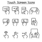 Touch screen icon set in thin line style royalty free illustration