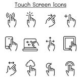 Touch screen icon set in thin line style. Vector illustration graphic design Royalty Free Stock Image